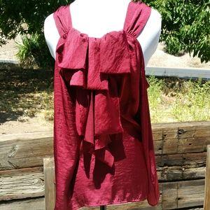 Ispiri ruffled sleeveless burgundy satin blouse